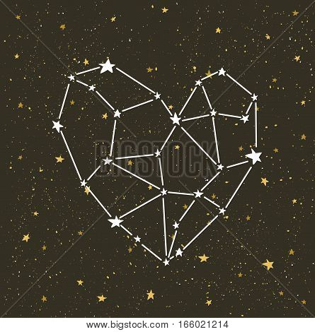 Starlit heart on the dark night sky with stars. Vector background for valentine's card, love poster and wedding greeting invitation cards.