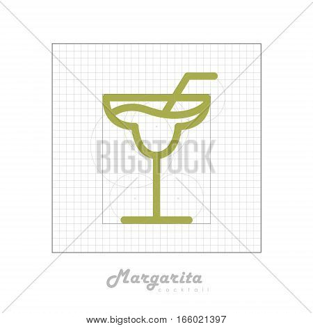 Vector icon of cocktail with modular grid. Margarita