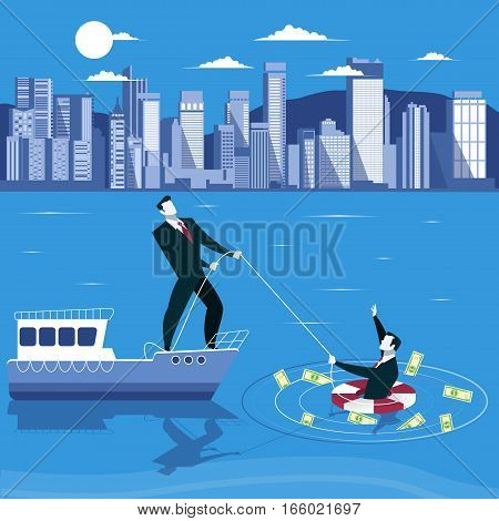 Businessman is drowning and ask for help from his partner. Business failure concept vector illustration.