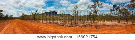 outback landscape of Australia in the dry season panarama view