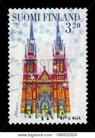 FINLAND - CIRCA 1997: a stamp printed in Finland shows Johann Church in Helsinki, series Christmas, circa 1997