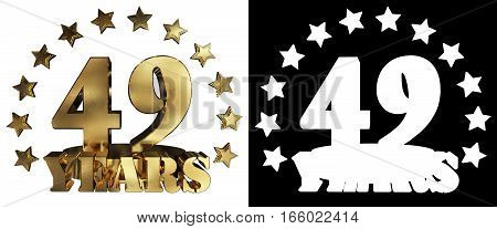 Golden digit forty nine and the word of the year decorated with stars. 3D illustration