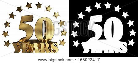 Golden digit fifty and the word of the year decorated with stars. 3D illustration