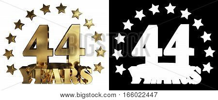 Golden digit forty four and the word of the year decorated with stars. 3D illustration