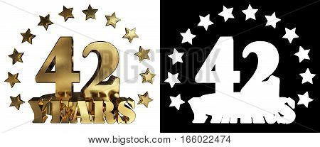 Golden digit forty two and the word of the year decorated with stars. 3D illustration