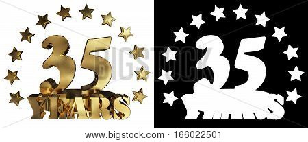 Golden digit thirty five and the word of the year decorated with stars. 3D illustration