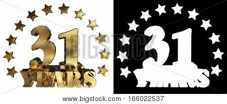 Golden digit thirty one and the word of the year decorated with stars. 3D illustration