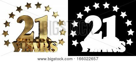 Golden digit twenty one and the word of the year decorated with stars. 3D illustration