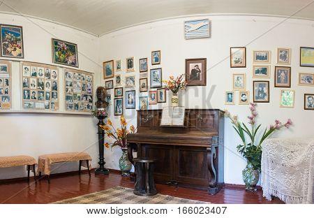 HURZUF CRIMEA RUSSIA - SEPTEMBER 17.2016: the interior of the Museum