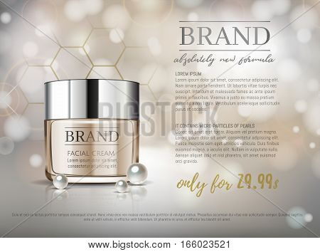 Premium Vip Cosmetic Ads, Hydrating Luxury Facial Cream For Sale. Elegant Soft Beige Color Cream Mas