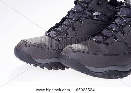 Winter shoe detail, closeup of new gray winter shoes