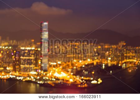 Blurred lights Hong Kong city business downtown abstract background