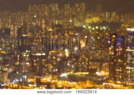 Blurred lights night view Hong Kong city residence downtown abstract background
