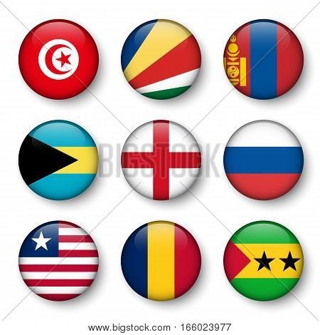 Set of world flags round badges ( Tunisia . Seychelles . Mongolia . Bahamas . England . Russia . Liberia . Chad . Sao Tome and Principe )