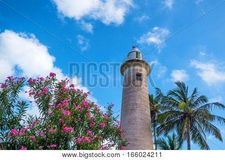 Scenic view with lighthouse and oleander in old colonial fort Galle in Sri Lanka