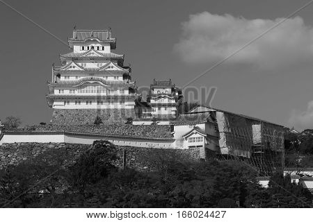 Back and White Himeji Castle in Kansai Japan