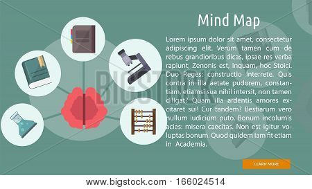 Mind Map Conceptual Banner | Great flat illustration concept icon and use for education, science, learning, reading and much more.