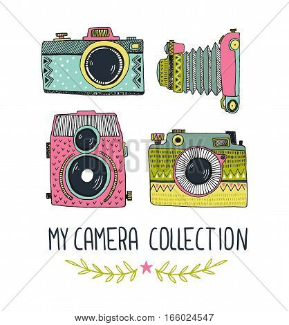 Retro photo camera set. Vector illustration. Vintage photo camera with ornaments. Hipster vector print for t-shirt poster or card.