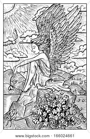 Angel. Handsome boy with wings holding a flower and sitting on a rock. Fantasy magic creatures collection. Hand drawn vector illustration. Engraved line art drawing, graphic mythical doodle
