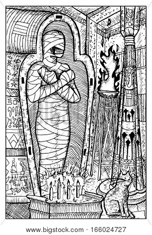 Mummy. Egyptian mythological character, demon in ancient tomb. Fantasy magic creatures collection. Hand drawn vector illustration. Engraved line art drawing, graphic mythical doodle. Template for card game, poster