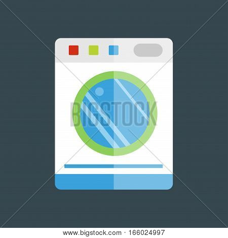 Washing machine dry hygiene isolated vector illustration. Housework domestic single clean equipment. Household appliance electrical metal technology.