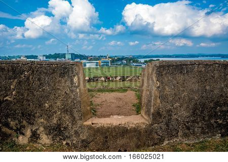 Beautiful scenery of walls of ancient Dutch Galle Fort known as one of UNESCO World Heritage Site in Sri Lanka