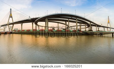 Panorama Bangkok Twin suspension bridge connection to highway interchanged river front Thailand