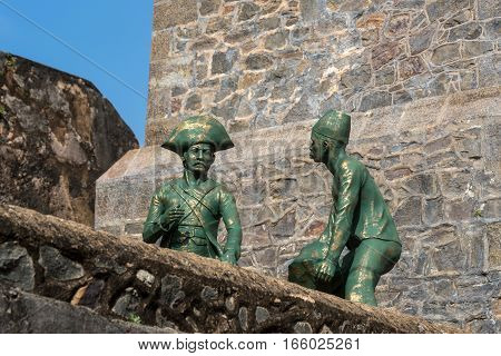 Scenic view of sculptures in ancient Dutch Galle Fort known as one of UNESCO World Heritage Site in Sri Lanka