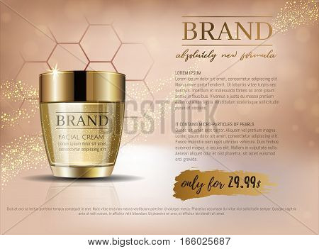 Premium Vip Cosmetic Ads, Hydrating Luxury Facial Cream For Sale. Elegant Beige And Gold Color Cream