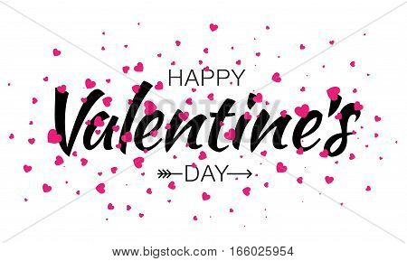 Happy Valentines Day Typographic Lettering isolated on white Background With Pink Hearts and Arrow. Vector Illustration of a Valentine's Day Card.