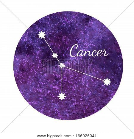 Beautiful vector illustration of watercolor horoscope sign Cancer