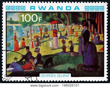 RWANDA - CIRCA 1980: a stamp printed in Rwanda shows A Sunday Afternoon on the Island of La Grande Jatte Painting by Georges Seraut circa 1980