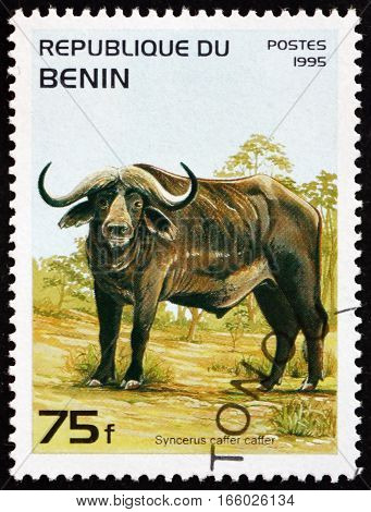 BENIN - CIRCA 1995: a stamp printed in Benin shows African Buffalo Syncerus Caffer is a Large African Bovine circa 1995