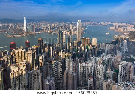 Hong Kong city office building aerial view over Victoria coastline