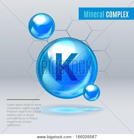 Mineral K Kalium Blue Shining Pill Capcule Icon . Mineral Vitamin Complex With Chemical Formula . Sh