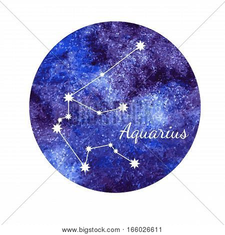Beautiful vector illustration of watercolor horoscope sign Aquarius