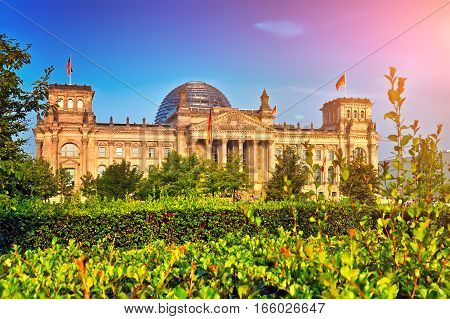 Reichstag Building In Berlin At Sunset, German Parliament