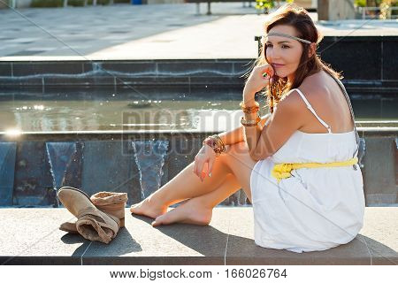 Young Woman, Foutain, Water, City, Boho Style, Beauty