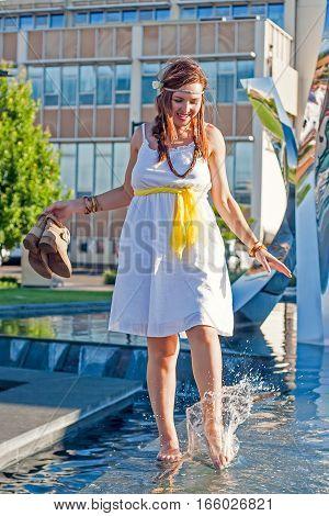Young Woman, Foutain, Water, City, Boho Style, Beauty, Fun