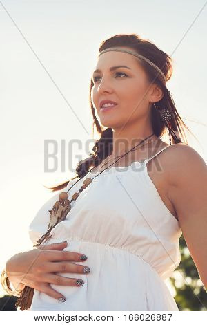 Young Woman, Pregnant;  Boho Style, Beauty, Dream, Love