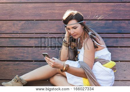 Young Woman, Mobile Device, Selfie, Boho Style, Beauty
