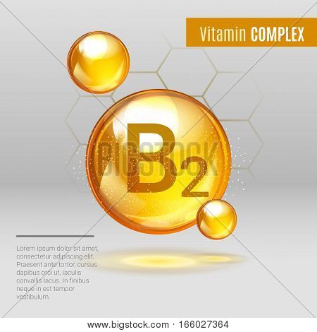 Vitamin B12 Gold Shining Pill Capcule Icon . Vitamin Complex With Chemical Formula, Group B, Ribofla