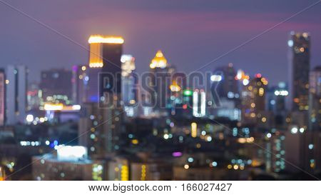Twilight blurred bokeh lights city downtown abstract background