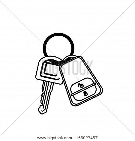 silhouette key ring with alarm system vector illustration