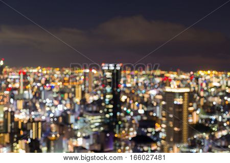 Abstract blurred bokeh Osaka night lights Japan
