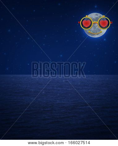 Moon wearing glasses with red love heart shape over fantasy sky and sea Valentines day concept