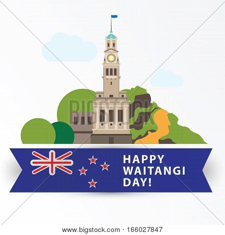 Happy Waitangi day, 6 February. New Zeland Auckland Greatest landmarks as symbol of the country. Web banner or greeting card.