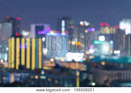 Abstract blurred lights office building downtown night view