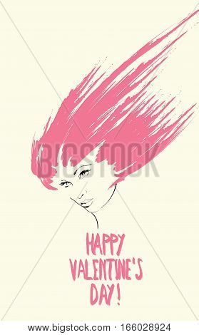 Card Valentine's Day. Sketch Of Girl's Face With Pink Hair.