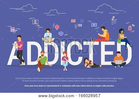 Addicted people concept illustration of young men and women using devices such as laptop, smartphone, tablets. Flat design of people addicted to gadgets sitting on the bid letters with social media symbols